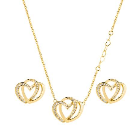 Colgante con forma de corazón de circón con incrustaciones de cobre collar de estilo coreano conjunto de pendientes joyería al por mayor Nihaojewelry NHLN430267's discount tags