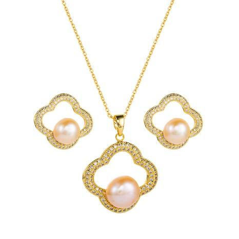 Cobre con incrustaciones de circón perla forma de flor estilo coreano pendientes collar conjunto al por mayor joyería Nihaojewelry NHLN430268's discount tags