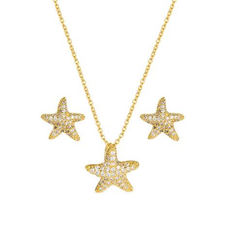 Cobre con incrustaciones de circón estrella de mar pendientes de estilo coreano conjunto de collar al por mayor joyería Nihaojewelry NHLN430271's discount tags
