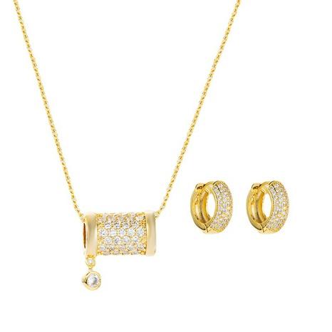 Colgante de cuentas huecas de circón con incrustaciones de cobre, collar de moda, pendientes, conjunto de joyas al por mayor, Nihaojewelry NHLN430272's discount tags