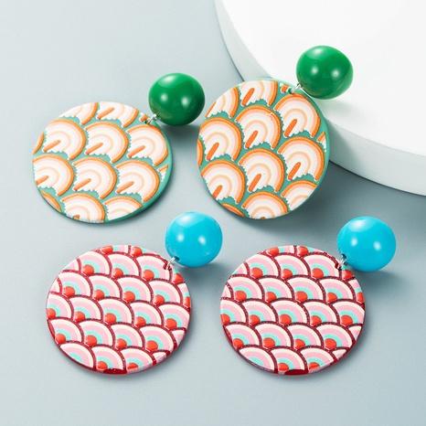 Pendientes colgantes con estampado de ondas geométricas al por mayor nihaojewelry NHLN430275's discount tags