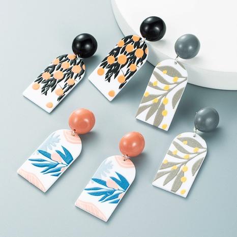 Pendientes colgantes geométricos con estampado de hojas retro al por mayor nihaojewelry NHLN430279's discount tags