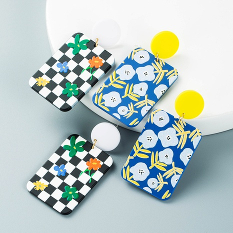 Pendientes colgantes con estampado de cuadros en blanco y negro de estilo coreano al por mayor nihaojewelry NHLN430281's discount tags