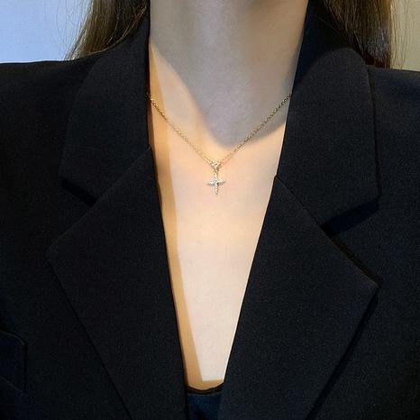 croix zircon pendentif mode titane acier collier en gros bijoux Nihaojewelry NHGAN430357's discount tags