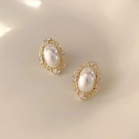 Pendientes de perla ovalada vintage al por mayor Nihaojewelry NHMS430437's discount tags