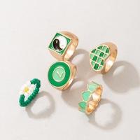 Boho Green Beads Peach Heart Drop Oil Ring Five-piece Wholesale Nihaojewelry  NHGY431570