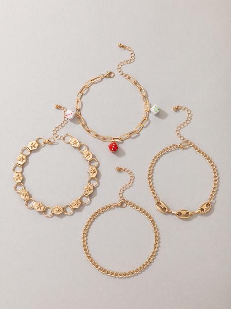 neue Art und Weise goldener Würfelstern Fußkettchen vierteiliger Großhandel Nihaojewelry NHGY431564's discount tags