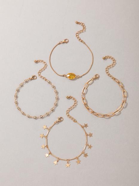 Mode kreative Legierung Strass Stern Fußkettchen vierteiliger Großhandel Nihaojewelry NHGY431563's discount tags