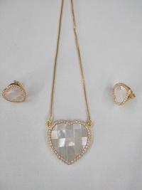 rhombus heart-shaped pendant copper inlaid zircon earrings necklace set wholesale nihaojewelry  NHWG430995