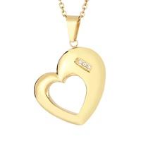 fashion stainless steel glossy heart-shaped hollow pendant wholesale Nihaojewelry NHKAL431210