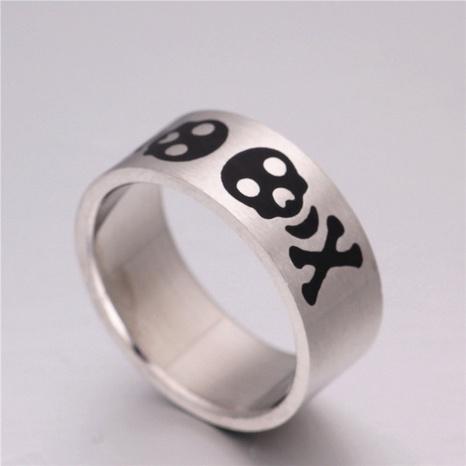 Vintage Totenkopf geschnitzter Titanstahl Ring Großhandel Nihaojewelry NHIQ431549's discount tags