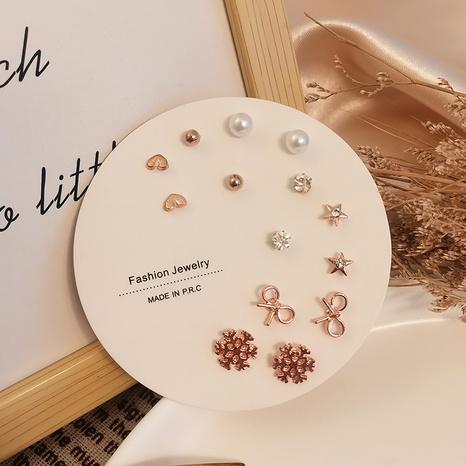 Koreanische sieben Paare Schneeflockeherzperlenohrringe Großhandel Nihaojewelry NHSD431288's discount tags