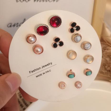 Ensemble de boucles d'oreilles en verre de perles rondes coréennes en gros Nihaojewelry NHSD431289's discount tags
