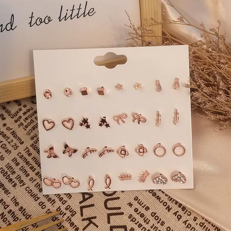 Ensemble de boucles d'oreilles coeur creux simples 16 paires de combinaisons en gros Nihaojewelry NHSD431290's discount tags