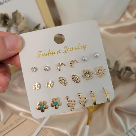 Boucles d'oreilles en perles d'opale cloutées de diamants à la mode multi-paires en gros Nihaojewelry NHSD431295's discount tags