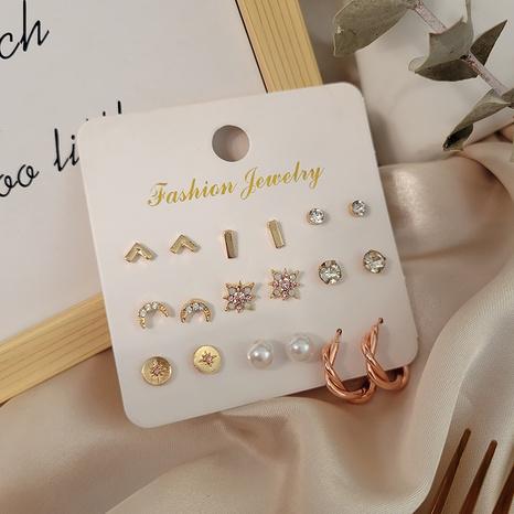 Boucles d'oreilles multi-styles en diamant éclair coeur lune étoile de la mode ensemble en gros Nihaojewelry NHSD431300's discount tags