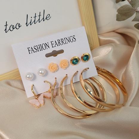 Mode Rose großer Kreis 6 Paar Ohrringe Großhandel Nihaojewelry NHSD431302's discount tags