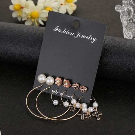 Koreanische Perlenblume ciecle Ohrringe Set Großhandel Nihaojewelry NHSD431303's discount tags