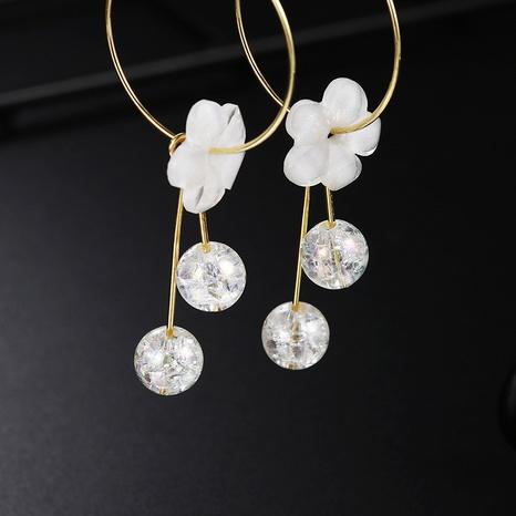Koreanische weiße Blumenperlenquastenohrringe Großhandel Nihaojewelry NHSD431304's discount tags