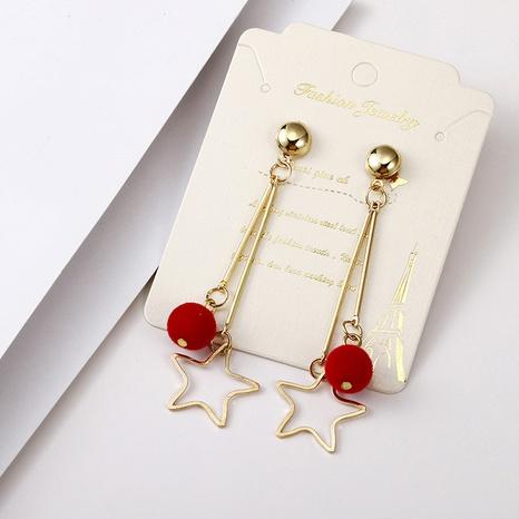 Mode hohler Stern rote Kugel lange Ohrringe Großhandel Nihaojewelry NHSD431305's discount tags