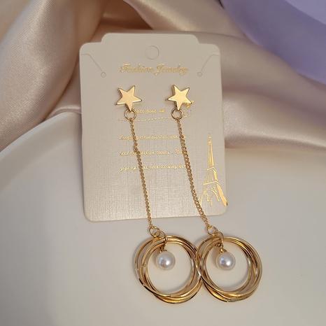 Boucles d'oreilles longues en forme de cercle empilé étoile coréenne en gros Nihaojewelry NHSD431306's discount tags