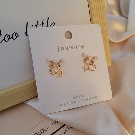einfache Perlenstern-Mond-Ohrringe Großhandel Nihaojewelry NHSD431307's discount tags