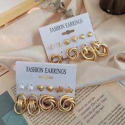 fashion metal circle chain stud earring 6 piece set wholesale Nihaojewelry NHSD431310