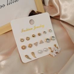 simple circle pearl butterfly stud earrings set combination wholesale Nihaojewelry NHSD431311