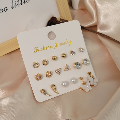 Boucles d'oreilles papillon perle cercle simple ensemble combinaison en gros Nihaojewelry NHSD431311's discount tags