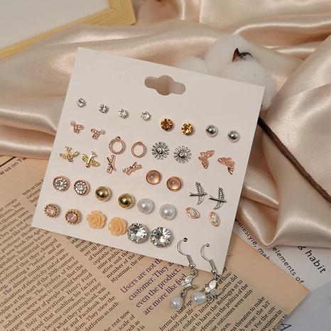 Mini boucles d'oreilles diamant coeur fleur simple sertie en gros Nihaojewelry NHSD431312's discount tags