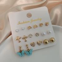 retro diamond-studded opal flower pearl earrings multi-pair wholesale Nihaojewelry NHSD431313