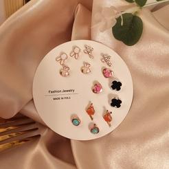 Korean geometric rabbit cross earrings set wholesale Nihaojewelry NHSD431314