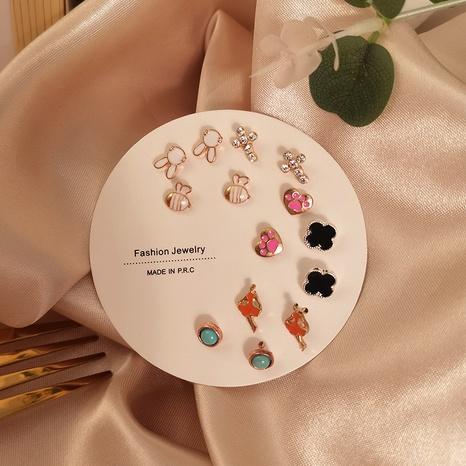 Ensemble de boucles d'oreilles croisées en forme de lapin géométrique coréen en gros Nihaojewelry NHSD431314's discount tags