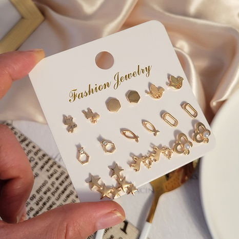 boucles d'oreilles en alliage étoile à cinq branches à la mode 9 paires combinaison en gros Nihaojewelry NHSD431316's discount tags