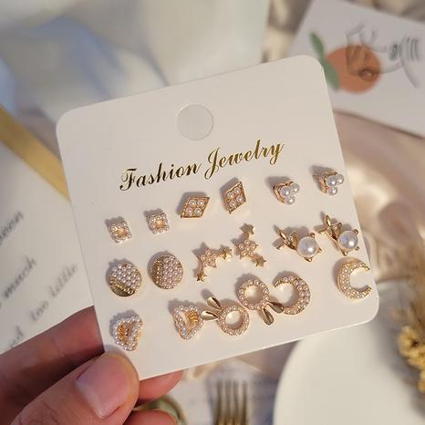 ensemble de boucles d'oreilles lapin coeur étoile imitation perle rétro en gros Nihaojewelry NHSD431317's discount tags