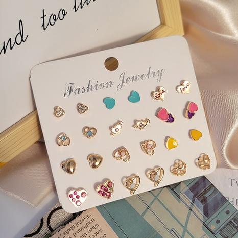 Boucles d'oreilles en forme de coeur en alliage dégoulinant de couleur de la mode en gros Nihaojewelry NHSD431318's discount tags