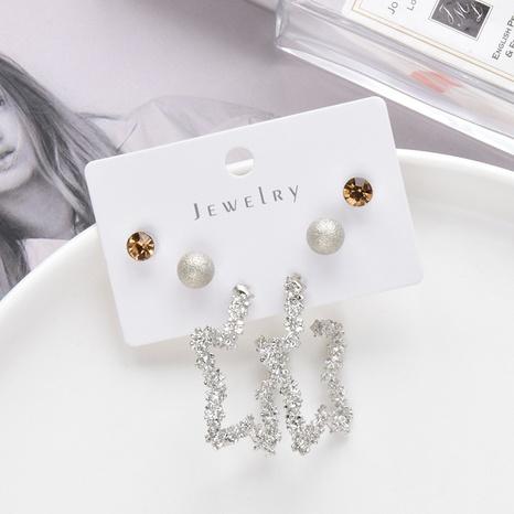 einfaches fünfzackiges Sternohrring-Set aus Metall 3 Paar Großhandel Nihaojewelry NHSD431321's discount tags