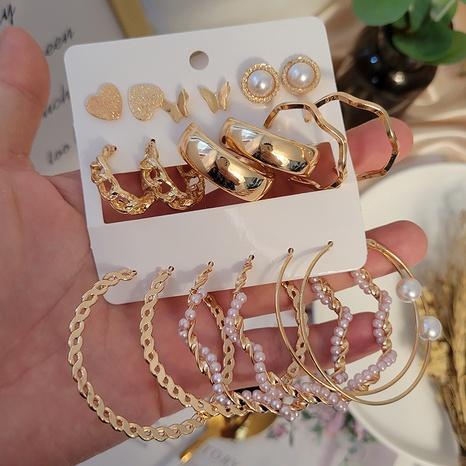 boucles d'oreilles rétro papillon imitation perles 9 paires en gros Nihaojewelry NHSD431325's discount tags
