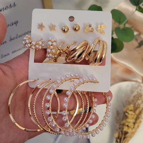 ensemble de boucles d'oreilles géométriques cercle papillon simple en gros Nihaojewelry NHSD431326's discount tags