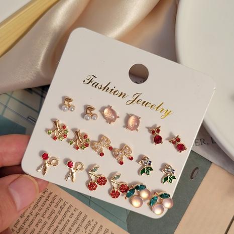 ciseaux de diamant de couleur de mode cerise 9 paires de boucles d'oreilles en gros Nihaojewelry NHSD431327's discount tags