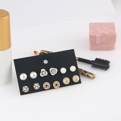 Mode Blume Diamantkugel Perlenohrring Set Großhandel Nihaojewelry NHSD431330's discount tags