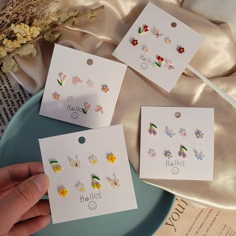 Boucles d'oreilles fleur papillon couleur bonbon coréen 8 ensembles en gros Nihaojewelry NHSD431335's discount tags