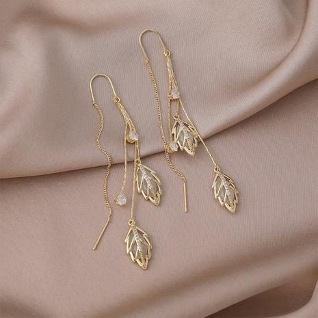 retro long branch jade leaf opal leaf tassel copper earrings wholesale Nihaojewelry NHMS431444