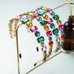 retro metal double row color rhinestone headband wholesale Nihaojewelry NHLN431594