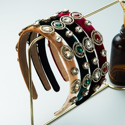 retro rhinestone velvet headband wholesale Nihaojewelry NHLN431595