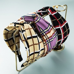 Korean wide-brimmed striped plaid fabric knotted headband wholesale Nihaojewelry NHLN431600
