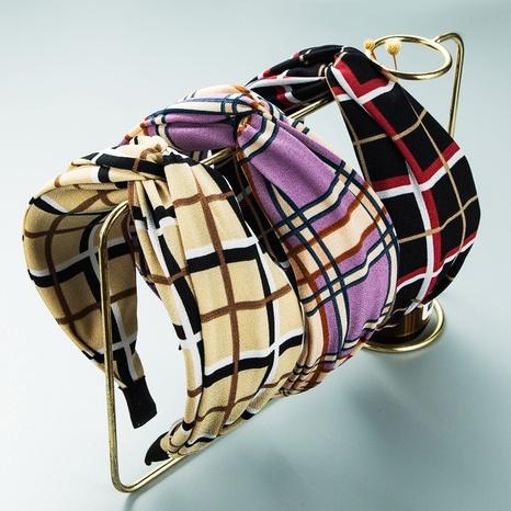 Bandeau noué en tissu à carreaux rayé coréen à larges bords en gros Nihaojewelry NHLN431600's discount tags