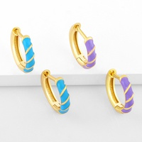 Color dripping geometric small copper ear buckles wholesale Nihaojewelry NHAS431605
