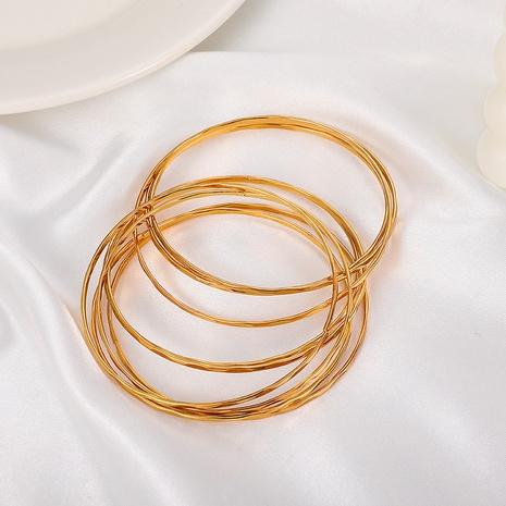 einfaches mehrschichtiges dünnes Kreis neunteiliges Legierungsarmband-Set Großhandel Nihaojewelry NHDP431678's discount tags