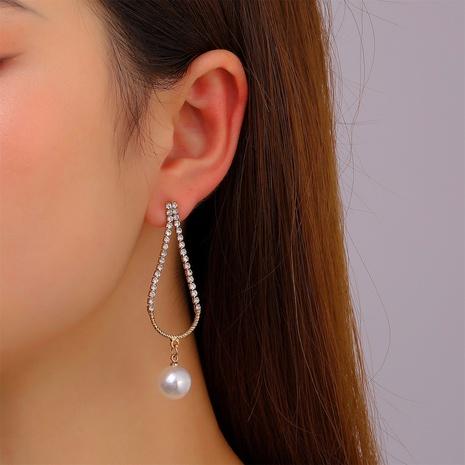 einfache Wassertropfen eingelegte Zirkonperlen geometrische Ohrringe Großhandel nihaojewelry NHDP431689's discount tags